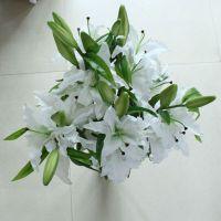 香水百合高仿花 人造假花 绢花 单支百合装饰花 仿真植物批发