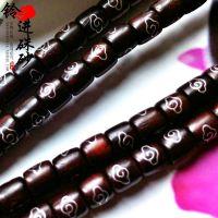 【铃进出品】天然黑檀木桶珠 镶嵌纯银丝背云黑檀手链木质工艺品