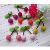供应优质毛毡配件 DIY羊毛毡饰品挂件 可爱小樱桃 混色 量大从优