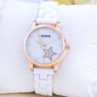 供应2014新款品牌女士手表批发 星星的你同款白色陶瓷手表