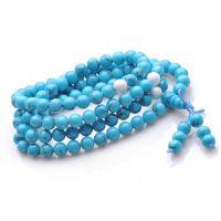 天然水晶 6mm绿松石(蓝)间白砗磲 108颗佛珠项链 可绕手3-4圈