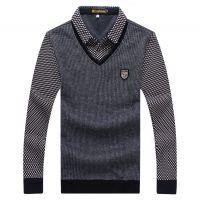 新款冬加绒加厚保暖方领衬衫假两件套中年羊毛大码男装打底衫812