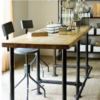 厂家直铁艺办公桌实木电脑桌简约会客桌椅餐厅餐桌客户桌子订做