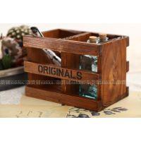 zakka杂货 复古做旧实木桌面三条两格收纳盒 A035