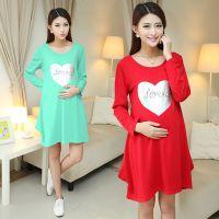 2014秋装新款韩国代购女装时尚孕妇装 长袖孕妇连衣裙