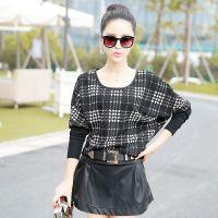 2014秋季新款短款T恤打底衫蝙蝠衫黑白格拼接上衣女装代理批发