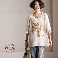 2014秋装例外风格 棉麻宽松五分袖圆领小树植绒 衬衫女