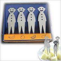 不锈钢笑脸水果叉(4个装) 带彩盒