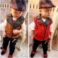 2014秋装新款 韩版宝宝小童男童装仿鹿皮超有型马甲 儿童马甲