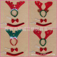 供应圣诞节用品 舞会表演用品 无纺布鹿角头箍三件套