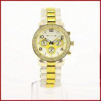 厂商供货2014款透明塑胶间金镶钻手表女 三眼六针双排钻手表
