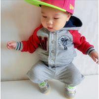 欧美外贸品牌童装 长袖套装二件套 婴幼儿连帽拉链卫衣 毛圈棉厚