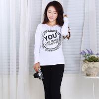 厂家直销2014秋装T恤女 韩版圆领纯棉字母长袖修身打底衫