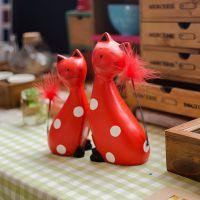 zakka杂货 北欧原木 猫摆件 创意家居饰品 田园风格婚庆C1617