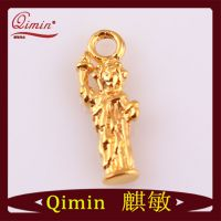 黄金自由女神像挂件 真金保色项链配件 美国风风格 项链坠子配件