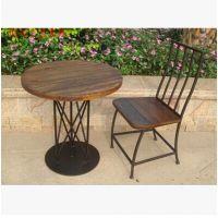 美式复古户外铁艺咖啡餐桌椅 实木桌椅组合 洽谈桌椅休闲餐椅圆桌