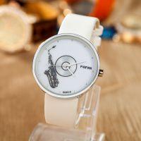 厂家直销欧美萨克斯小号音符多款男女手表 时尚风格PU皮质手表
