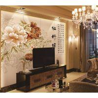 彩虹石品牌瓷砖背景墙 电视墙装修图片 床头背景墙-牡丹颂