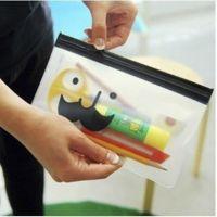 8449 韩国文具多用途胡子透明收纳袋 文具袋 拉边袋 笔袋