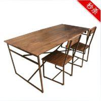 宜家 实木铁艺做旧饭桌 铁艺复古餐桌椅 出口美国