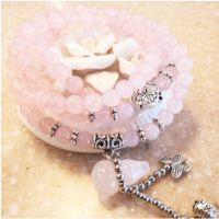 天然水晶手链女 粉水晶葫芦 多层手工串珠手链 地摊项目一件代发