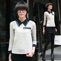 2014秋冬季韩国东大门个性拼皮娃娃领帅气长袖衬衫 女式打底衫