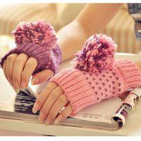 3012淘宝爆款韩国秋冬女士可爱保暖AB露指手套半指毛线撞色手套