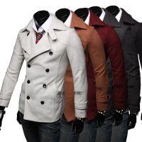 供应速卖通2014冬季新品 男士修身双排扣呢外套 日常休闲双面尼大衣