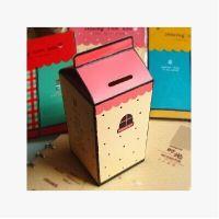 创意DIY自制纸质牛奶盒储蓄罐 可爱存钱罐收纳盒学生礼品礼物