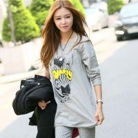 秋装新款韩国长袖T恤时尚潮流中长款打底衫上衣 宽松大码女装9107