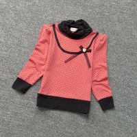 S42秋装新款女童装甜美可爱风蝴蝶结圆点泡泡袖高领T恤长袖打底衫