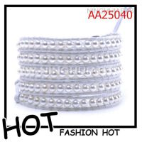 厂家直销 皮革珍珠编织手链 珍珠手链批发 多层缠绕手饰