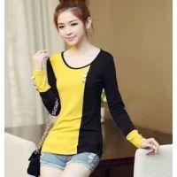 新品韩版女装拼接色中长款宽松大码打底衫长袖T恤