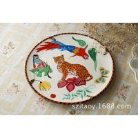 手绘陶瓷盘子 特色餐厅餐具个性创意装饰挂盘平盘 创意餐具套装