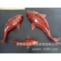 透明玻璃钢色彩小金鱼摆件 铁艺树脂工艺品挂件浙江杭州办公摆设