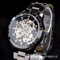 批发供应速卖通热卖自动 机械表 夜光钢带男士手表 高档运动腕表