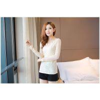 2013秋季新款百搭韩版时尚圆领蕾丝长袖打底衫T恤经典女装