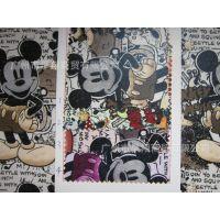 批发印花pvc皮革 卡通动物纹 布纹鼠 墙面装饰 收纳盒工艺礼品革