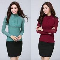 2014秋新款打底衫韩版修身网纱高领纯色显瘦长袖打底T恤