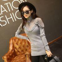 实拍秋冬新款韩版修身蕾丝针织打底衫中长款高领套头毛衣女