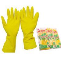 批发家用清洁好帮手加厚牛筋乳胶光里手套洗衣洗碗纯乳胶手套80g