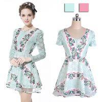 新 时尚女装春夏新品甜美梦幻蕾丝碎花长袖连衣裙B426