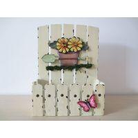 新品上市 长方形彩绘木栅栏 仿真花器 居家桌面装饰花器 热卖