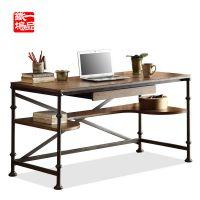 美式乡村书桌 仿古铁艺写字台写字桌电脑桌 书架置物架