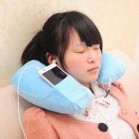 充气U型枕 时尚毛绒充气枕 汽车护颈枕 厂家直销