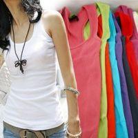 2014夏装日韩女装长款打底衫 修身T恤纯色螺纹棉工字背心