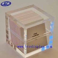供应上下盖亚克力名片盒/压克力透明名片座/创意桌面名片盒/卡片盒