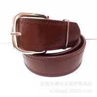 PD039A 厂家针扣皮带批发 皮带 棕色男士仿皮韩版单边车缝钱皮带