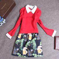 WY519日系人气女装秋冬新款小翻领拼接卡通松鼠款撞色连衣裙