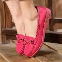 糖果舒适单鞋蝴蝶结真皮女鞋 休闲大码女式单鞋 平跟牛筋底妈妈鞋